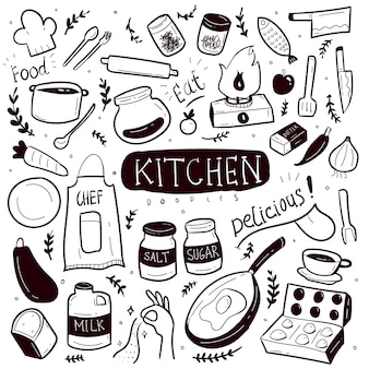 Kitchen hand drawn doodle collection set