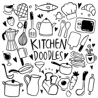 Kitchen hand drawn doodles vector