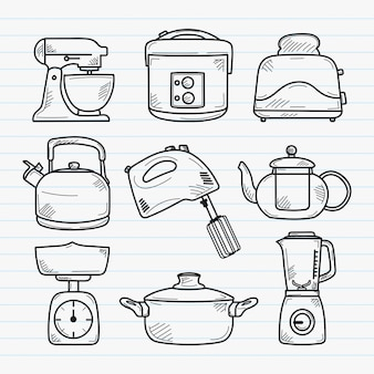 Kitchen handdrawn doodle illustration