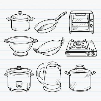 キッチンの手描き落書きイラスト