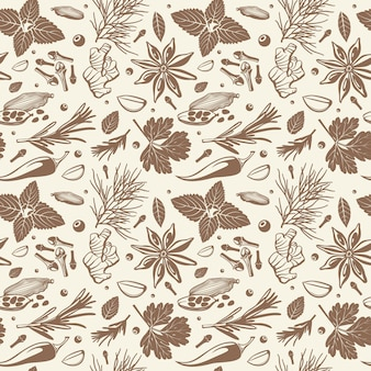Kitchen herbs and spices seamless pattern.