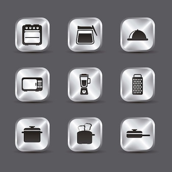 Kitchen icons over gray background vector illustration