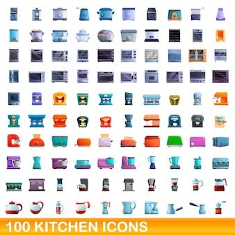 キッチンアイコンセット。白い背景に設定されているキッチンアイコンの漫画イラスト