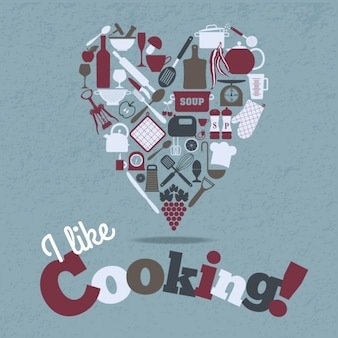 Kitchen icons set in heart shape
