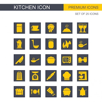 Kitchen icons set yellow and grey