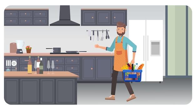 Кухня в помещении иллюстрация