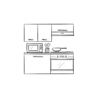 주방 인테리어와 전자레인지, 냉장고, 오븐 손으로 그린 윤곽선 낙서 아이콘. 주방 카운터, 캐비닛 개념