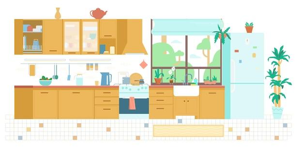 Кухня интерьер фон плоский иллюстрация