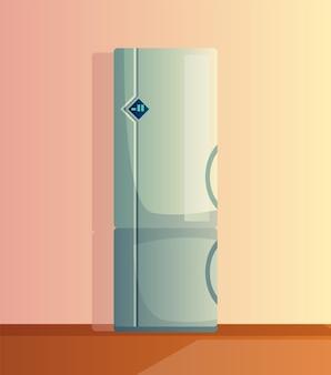 주방 인테리어 만화 벡터 일러스트 레이 션. 냉장고가 있는 가정 요리 방. 가정용 기기.