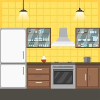 キッチンインテリアコワーキングベクトルイラスト。