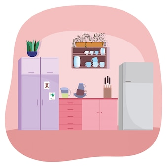 Kitchen interior crockery fridge cabinets knives and plant