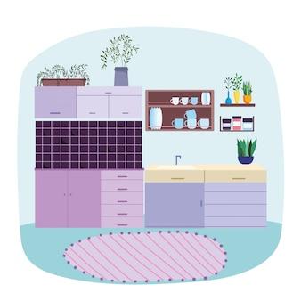 Кухонный интерьер, шкаф посуды на полке, ковер и растения