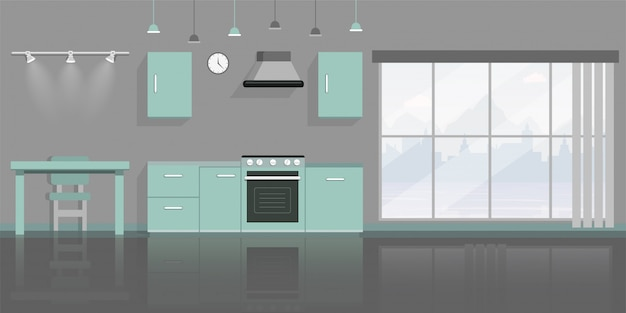 Kitchen interior decor flat  illustration.