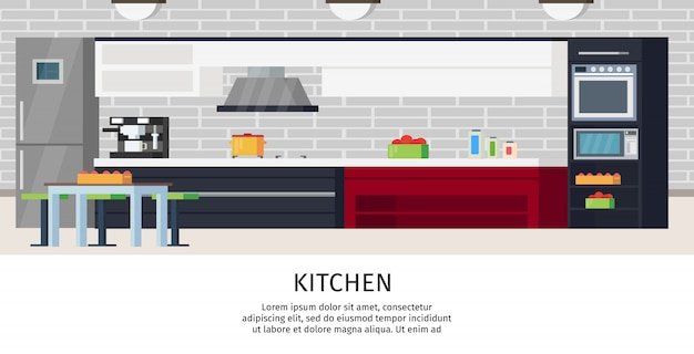 Kitchen interior design composition