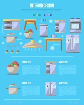 Kitchen interior design  in flat style