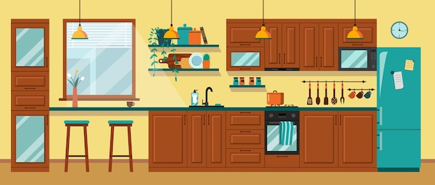 Kitchen interior design with furniturebrown cooking room with table cupboard stove and microwave