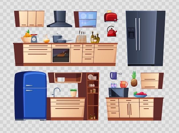 Kitchen interior details isolated on transparent background