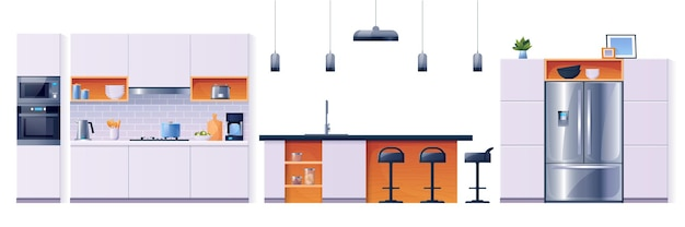 Kitchen interior fittings and appliances