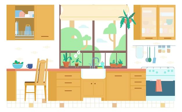 Интерьер кухни плоский иллюстрация