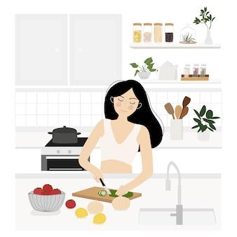 キッチンインテリア。フラットスタイルのイラスト。若い女性は健康食品を調理しています。