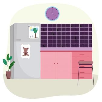 Кухонный интерьер, холодильник, плитка, настенные часы и растение в горшке