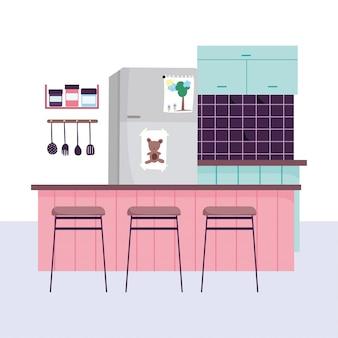 Кухонный интерьер, холодильник, посуда, специи в полку и стулья
