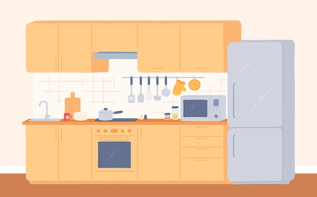 Kitchen interior. furniture for cooking stove, oven, cupboard, sink and fridge. modern kitchen with appliances and utensils, vector room. dining area in house cartoon flat illustration