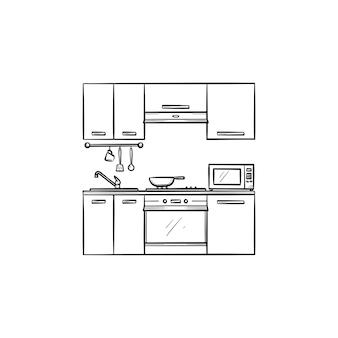 Интерьер кухни рисованной наброски каракули значок. мебель для кухни интерьер векторные иллюстрации эскиз для печати, интернета, мобильных устройств и инфографики, изолированные на белом фоне.
