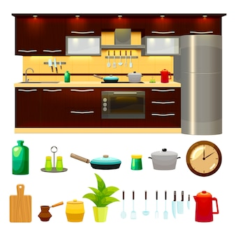 Kitchen interior icon set and illustration