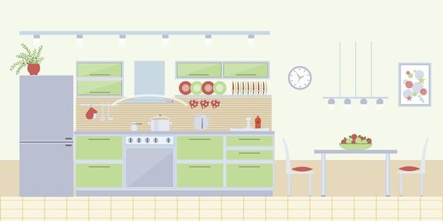 플랫 스타일의 주방 인테리어. 홈 디자인 및 가구, 현대 집.