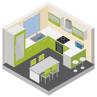 Интерьер кухни изометрической композиции с современной мебелью, бытовыми гаджетами и бытовой электроникой