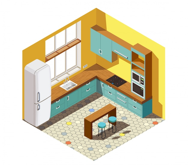Kitchen interior isometric scene