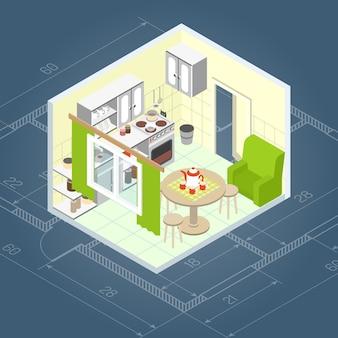 Интерьер кухни изометрический