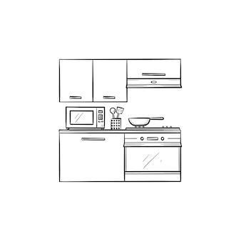 Kitchen interior and microwave, fridge, oven hand drawn outline doodle icon. kitchen counter, cabinets concept