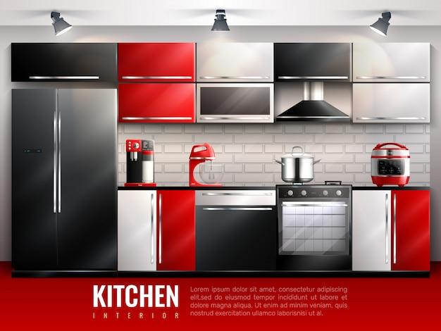 Концепция дизайна интерьера кухни в реалистичном стиле с бытовой техникой и посудой