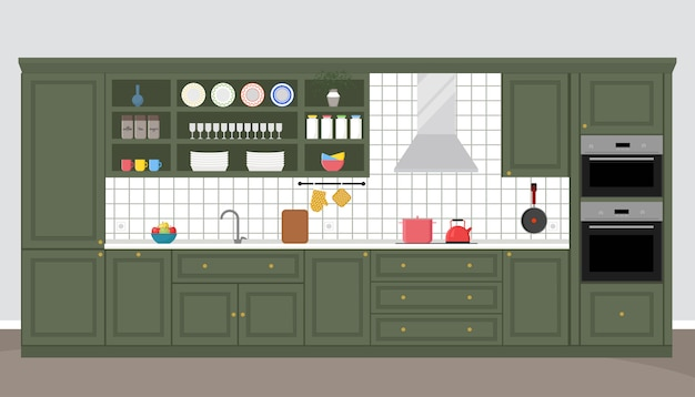 Kitchen interior in neoclassic style, trendy colors. flat illustration