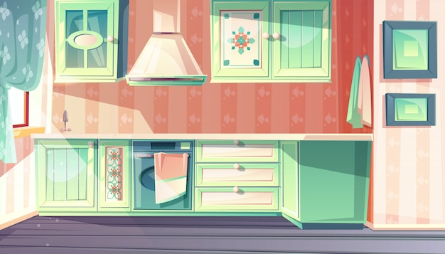 Kitchen interior in retro provence style illustration.