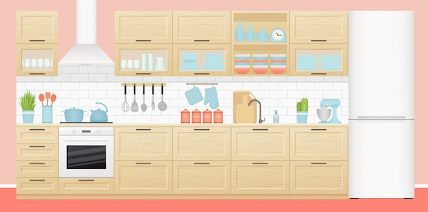 Kitchen interior. room with appliances and furniture
