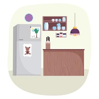 食器用シーリングランプナイフと冷蔵庫付きキッチンインテリアシェルフ