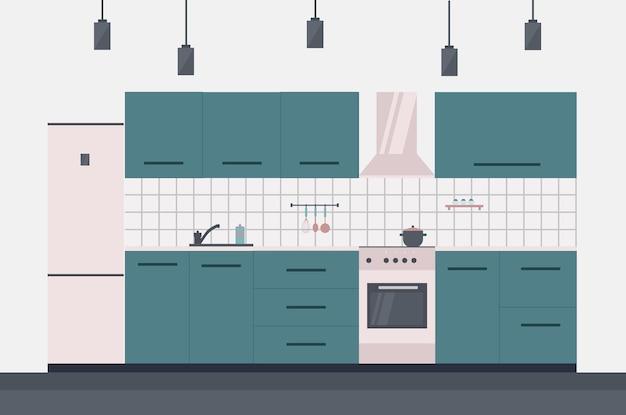 キッチンインテリア、ストーブ、換気フード、冷蔵庫。ベクトルイラスト、フラットスタイル。