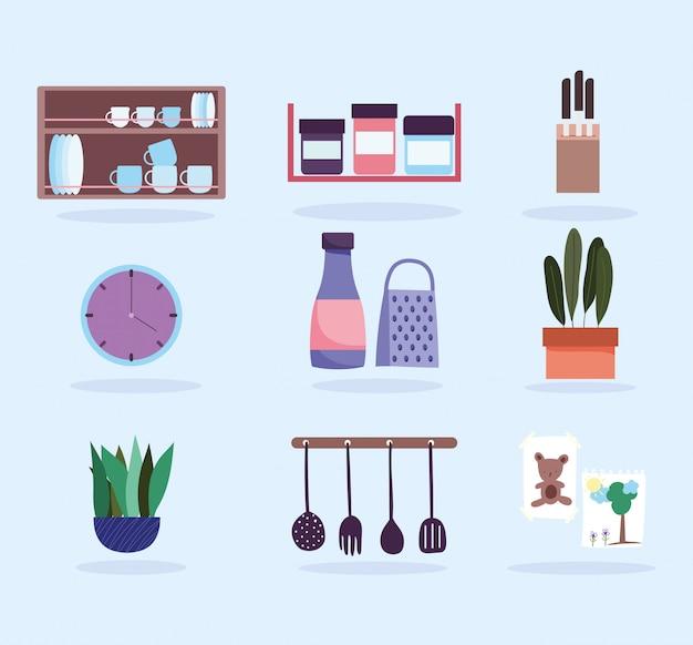 Кухонная утварь посуда продукты иконы и растения иконы