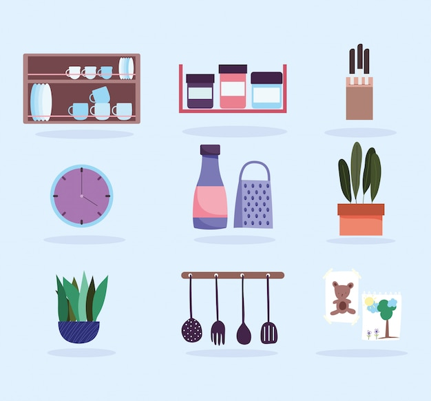 Kitchen interior utensils products tableware and plants icons
