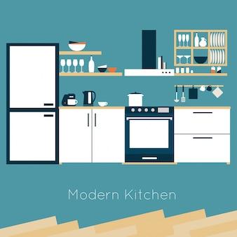 Кухонный интерьер векторная иллюстрация