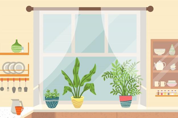 Kitchen interior, window sill with plants