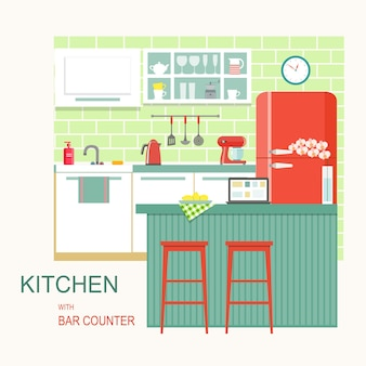 Kitchen interior with bar counter vector flat style illustration