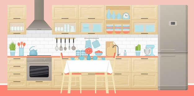 Kitchen interior with dining area.  illustration. flat design.