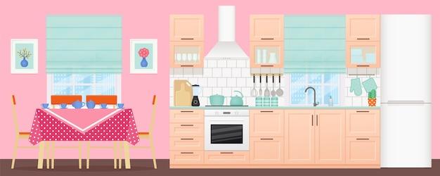 ダイニングエリア付きのキッチンインテリア。図。フラットなデザイン。