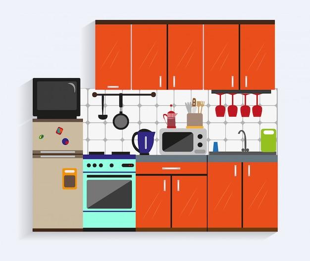 フラットスタイルの家具とキッチンのインテリア Premiumベクター