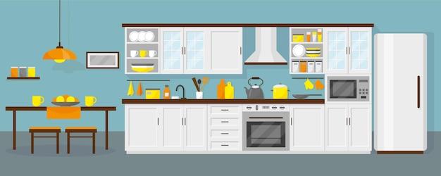가구, 냉장고, 전자 렌지, 테이블 및 접시가있는 주방 인테리어. 파란색 배경입니다.