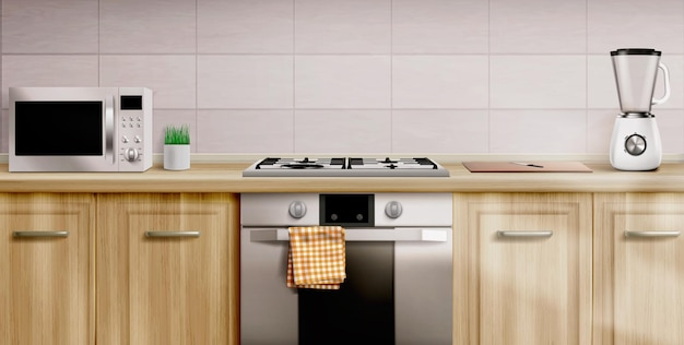 Interno della cucina con fornelli a gas e microonde